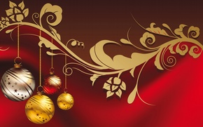 Picture balls, New Year, golden, Christmas, balls, New Year, decoration, Happy, Merry