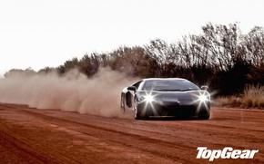 Wallpaper road, trees, black, dust, Lamborghini, supercar, top gear, the front, LP700-4, Aventador, Lamborghini, top gear, ...