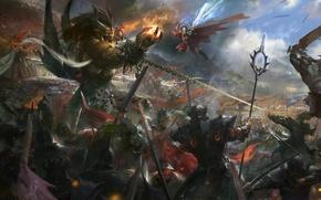 Picture flame, jump, blood, the demon, warrior, battle, chain, Art