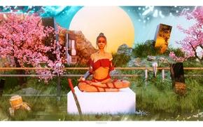 Picture girl, the sun, trees, fiction, sword, garden, meditation