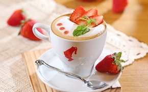 Picture foam, berries, coffee, milk, strawberry, spoon, Cup, drink, cappuccino, saucer