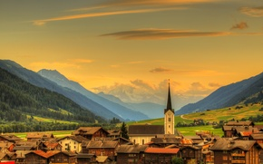 Wallpaper forest, the sky, clouds, mountains, home, Switzerland, valley, town, Goms, Ulrichen