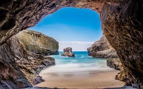 Wallpaper sea, rocks, CA, USA, the grotto