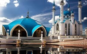 Picture the sky, clouds, reflection, the Kremlin, mosque, Kazan, Tatarstan, Kul-Sharif