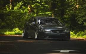 Wallpaper the city, Honda, the front, accord, stance, Acura TSX