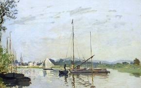 Picture Claude Monet, Argenteuil, picture, boat, river, landscape, sail