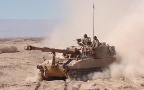 Picture sand, dust, installation, self-propelled, artillery, (SAU), M109