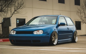 Picture volkswagen, golf, blue, tuning, coupe, germany, low, stance, mk4