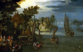 Picture picture, sail, Jan Brueghel the elder, River Landscape with Boats and Ferries