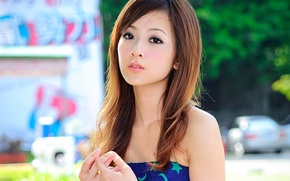Picture eyes, girl, background, model, hair, lips, Asian, What, Zhang Kaijie