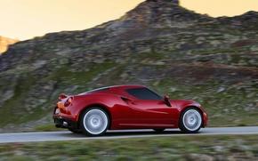 Picture road, grass, red, stones, mountain, green, alfa romeo, Alfa Romeo, tinted