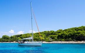 Picture the sky, clouds, trees, Croatia, The Adriatic sea, sailing boat, the island of Hvar