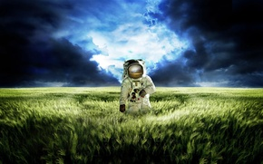 Picture field, the sky, grass, clouds, blue, reflection, planet, the situation, the suit, meadow, green, Astronaut