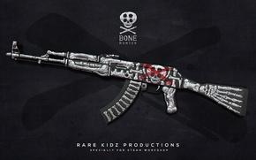 Picture skull, bones, AK-47, paint, workshop, cs go, bone hunter, custom paint job