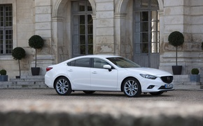 Picture Auto, White, Sedan, Mazda, Car