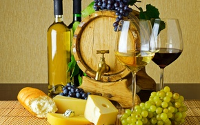 Picture table, wine, red, white, crane, cheese, glasses, bread, grapes, bottle, baguette, bunches, barrel