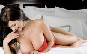 Wallpaper Denise Milani, Sexy, Brunette, Smile, Large Breast