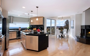 Picture furniture, Villa, interior, kitchen, luxury