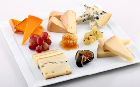 Picture Cheese, grapes, honey, figs