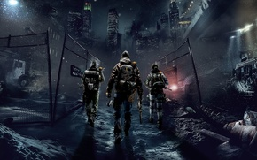 Picture The sky, Weapons, Light, Night, Tom Clancy's The Division, Winter, The city, New York, Equipment, ...