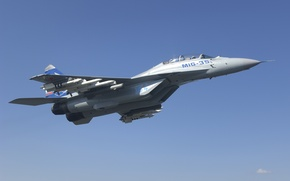Wallpaper the sky, height, Fighter, missiles, flight, Russia, the plane, ammunition, sky, aircraft, BBC, flight, weapons, ...