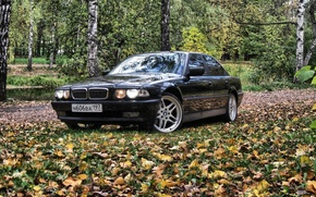Picture autumn, forest, BMW, Boomer, bmw 7, e38