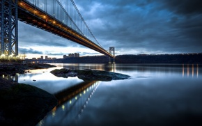 Picture the city, river, overcast, coast, New York, the evening, USA, USA, Manhattan, Manhattan, NYC, New …