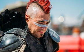 Wallpaper Mad Max, male, paint, style, hair, face, background, Mohawk