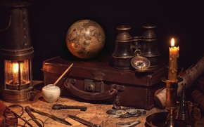 Picture retro, map, candle, glasses, lantern, binoculars, suitcase, coins, still life, journey, compass, globe, vintage, the …