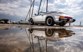 Picture car, auto, reflection, 911, Porsche, puddle, Carrera, Speedster