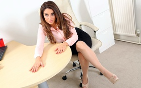 Picture girl, table, model, figure, office, beauty, shoes, hairstyle, heels, Charlotte Springer, requirements