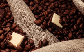 Picture coffee, chocolate, grain, slices, chocolate, coffee