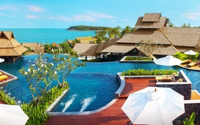 Picture the ocean, pool, the hotel, resort