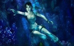 Picture bubbles, mermaid, depth, Tomb Raider, underwater world, Lara Croft