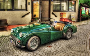 Picture vintage, old, retro, cabriolet, old style, car, green, Triumph TR3, old car
