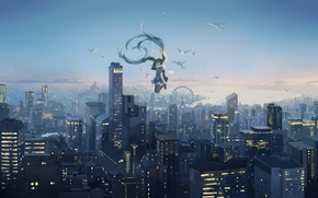 Wallpaper the sky, girl, sunset, birds, the city, height, home, anime, art, Ferris wheel, vocaloid, hatsune ...