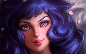 Picture eyes, look, girl, face, hair, anime, petals, art