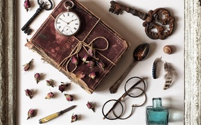 Picture things, watch, roses, frame, feathers, key, glasses, spoon, book, knife, buds, bottle