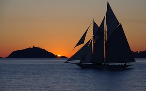 Picture sea, sunset, mountain, sailboat, the evening, yacht, yacht, landscape.