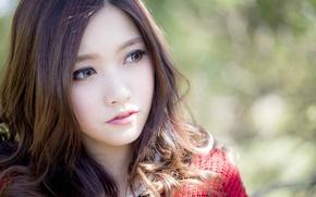 Picture red, women, face, asian, portrait