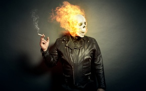 Wallpaper people, skull, cigarette, fire