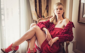Wallpaper posing, figure, blonde, actress, legs, Ugo Richard, sitting, hairstyle, El Fanning, in red, in the ...