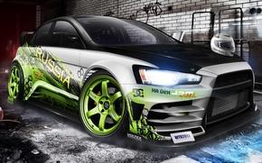 Picture Mitsubishi, lancer, evo X, Drift car