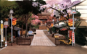 Picture trees, machine, street, home, fence, Japan, lights, ladder, track, temple, flowering, road signs, by Kusanagi