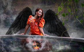 Picture FACE, WINGS, ANGEL, SQUIRT, GIRL, WATER