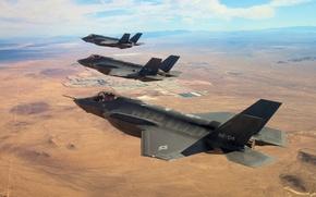 "Picture earth, fighters, three, flight, Lightning II, F-35, ""Lightning"" II"
