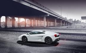 Picture road, white, the sky, bridge, shadow, white, gallardo, lamborghini, side view, bridge, Lamborghini, Gallardo, lp560-4