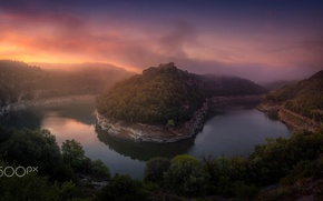 Picture forest, river, castle, rocks