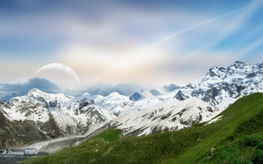 Wallpaper snow, the sky, mountains, Dreamy World