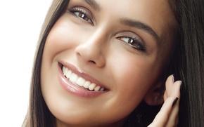 Picture look, girl, face, eyelashes, smile, model, hair, brown eyes, closeup